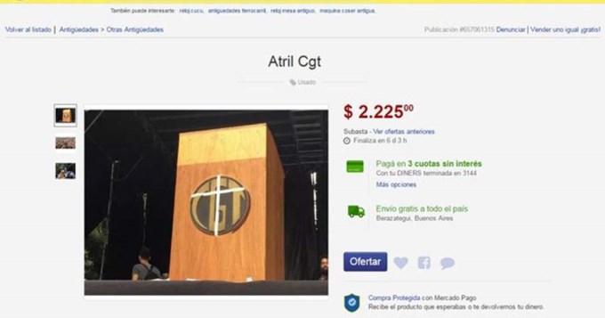 Atril robado de la CGT se vende por Internet