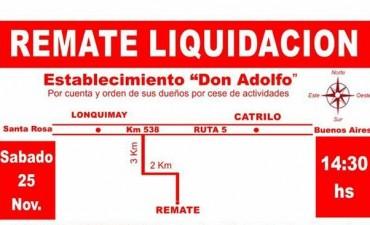 Remate liquidacion 25 de Noviembre en Establecimiento